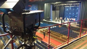 A camera pointing at the stage